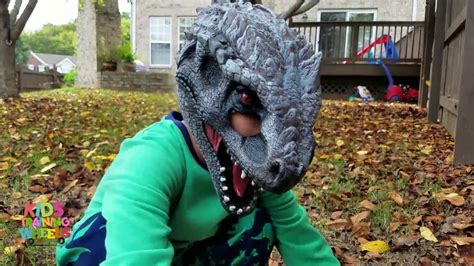 Dinosaur Toy Hunt with Jurassic World Halloween Mask