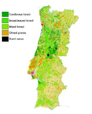 Land cover of Portugal from (source: CORINE)