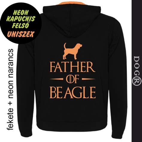 Neon kapucnis felső, uniszex - FATHER OF beagle