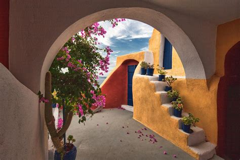 architecture, Building, Greece, Arch, Stairs, Flowers